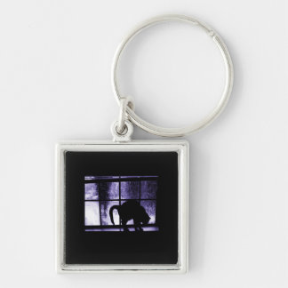 October Showers Cat Silhouette At Window 2 Indigo Silver-Colored Square Key Ring