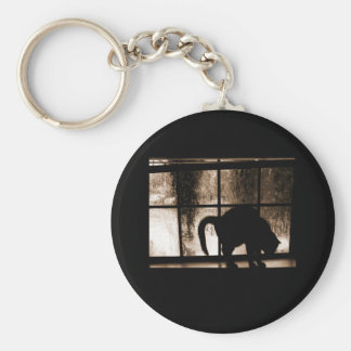 October Showers Cat Silhouette At Window 2 Orange Basic Round Button Key Ring