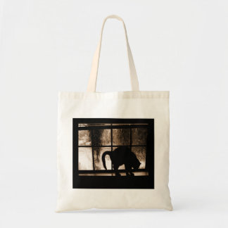 October Showers Cat Silhouette At Window 2 Orange Budget Tote Bag