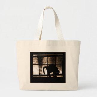 October Showers Cat Silhouette At Window 2 Orange Jumbo Tote Bag