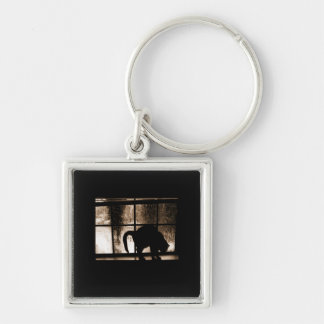 October Showers Cat Silhouette At Window 2 Orange Silver-Colored Square Key Ring