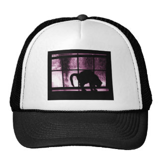 October Showers Cat Silhouette At Window 2 Pink Cap