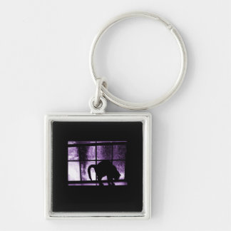 October Showers Cat Silhouette At Window 2 Purple Silver-Colored Square Key Ring