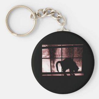 October Showers Cat Silhouette At Window 2 Red Basic Round Button Key Ring