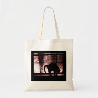 October Showers Cat Silhouette At Window 2 Red Budget Tote Bag