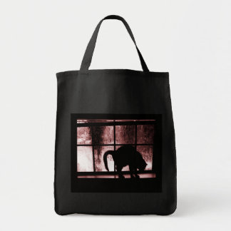 October Showers Cat Silhouette At Window 2 Red Grocery Tote Bag