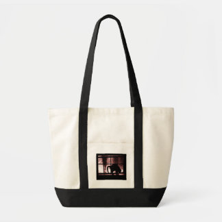 October Showers Cat Silhouette At Window 2 Red Impulse Tote Bag