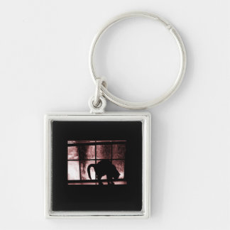 October Showers Cat Silhouette At Window 2 Red Silver-Colored Square Key Ring
