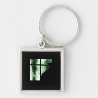 October Showers Cat Silhouette At Window Green Silver-Colored Square Key Ring