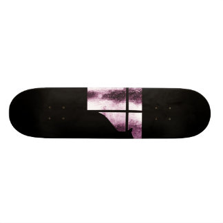 October Showers Cat Silhouette At Window Pink Skate Board Deck