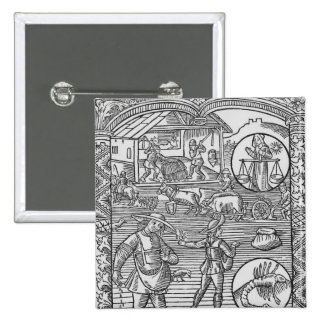 October, sowing, ploughing and threshing, 15 cm square badge