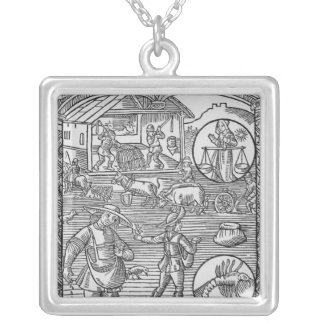October, sowing, ploughing and threshing, silver plated necklace