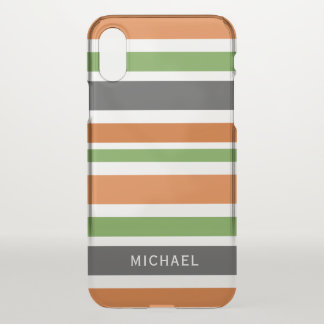 October Stripes - Add Your Name iPhone X Case