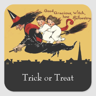 october witch ride halloween square sticker