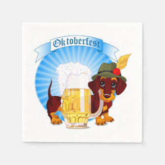 Octoberfest Dachshund Cocktail Paper Napkins