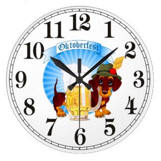 Octoberfest Dachshund Round (Large) Wall Clock