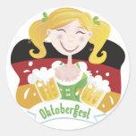 Octoberfest Mädchen Round Stickers