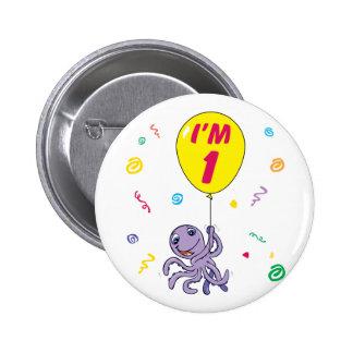 Octopus 1st Birthday 6 Cm Round Badge