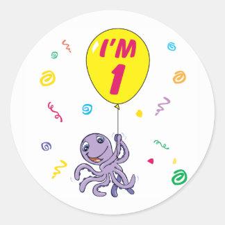 Octopus 1st Birthday Round Sticker