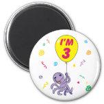 Octopus 3rd Birthday Fridge Magnet