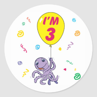 Octopus 3rd Birthday Round Sticker
