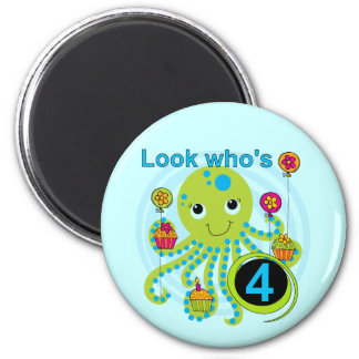Octopus 4th Birthday T shirts and Gifts 6 Cm Round Magnet