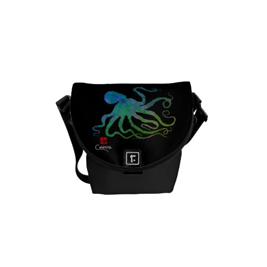 Octopus 6 Blue/Green - Mini Messenger Bag