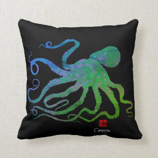 Octopus 6 Blue/Green On Black - Throw Pillow