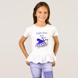 Octopus 6 In Blue - Girl's Ruffled T-shirt