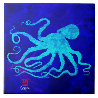Octopus 6 R - Large Ceramic Tile