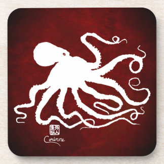 Octopus 6 White On Red - Hard Plastic Coasters