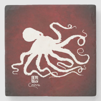 Octopus 6 White On Red - Marble Coaster