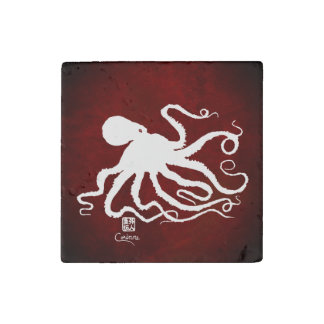 Octopus 6 White On Red - Marble Magnet Stone Magnet