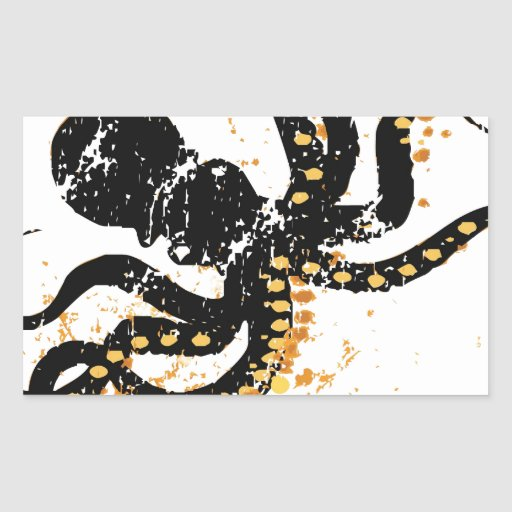 Octopus Abstract Rectangle Stickers