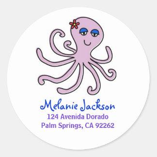 Octopus Address Labels Round Sticker