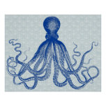 Octopus Anchors Lord Bodner Vintage Nautical Blue Poster