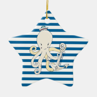Octopus and Anchor Blue and White Stripe Ornament