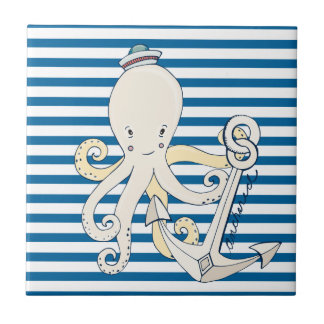 Octopus and Anchor Blue and White Stripe Tile