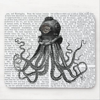 Octopus and Diving Helmet Mouse Mat