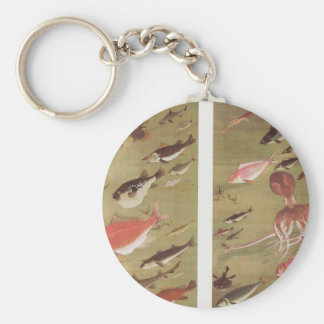 Octopus and Fish by Ito Jakuchu Basic Round Button Key Ring