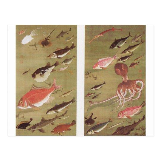 Octopus and Fish by Ito Jakuchu Postcard