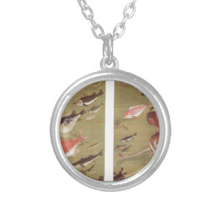 Octopus and Fish by Ito Jakuchu Round Pendant Necklace