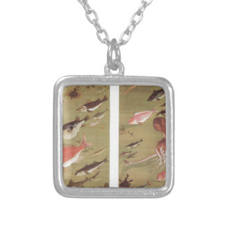 Octopus and Fish by Ito Jakuchu Square Pendant Necklace