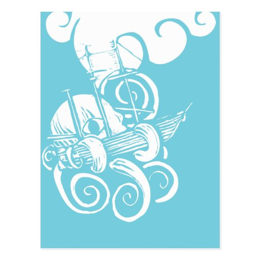 Octopus and Ship 2 Post Card