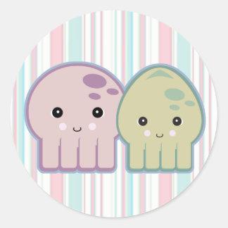 octopus and squid pals classic round sticker