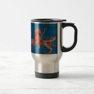 Octopus approaching travel mug