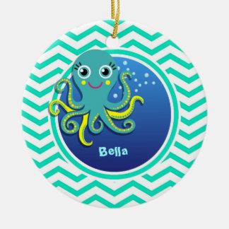 Octopus; Aqua Green Chevron Christmas Ornament