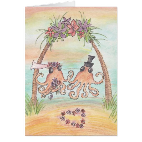 Octopus Beach Wedding Card