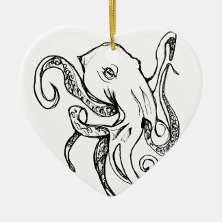 Octopus BLACK Christmas Ornament