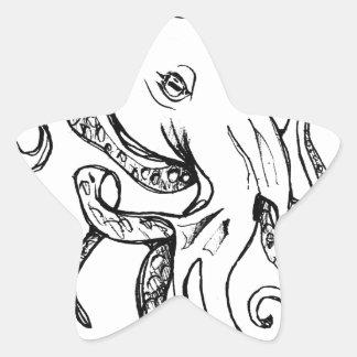 Octopus BLACK Star Sticker